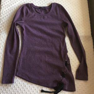 Patty Boutik Tunic Pullover Top Purple w tie hem